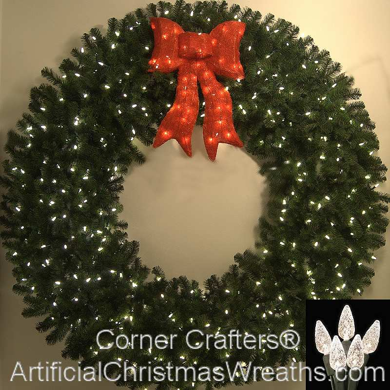 6 Foot C6 L E D Prelit Christmas Wreath Artificialchristmaswreaths Wreaths
